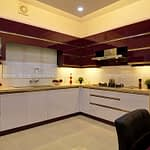 Modular kitchen cabinets with dual tone glossy finish