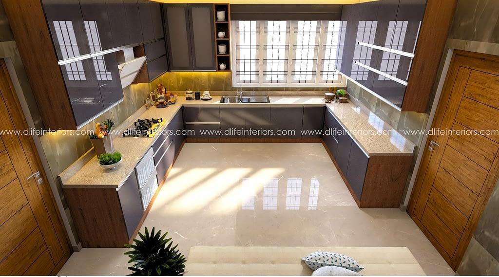 u shape modular kitchen in kochi
